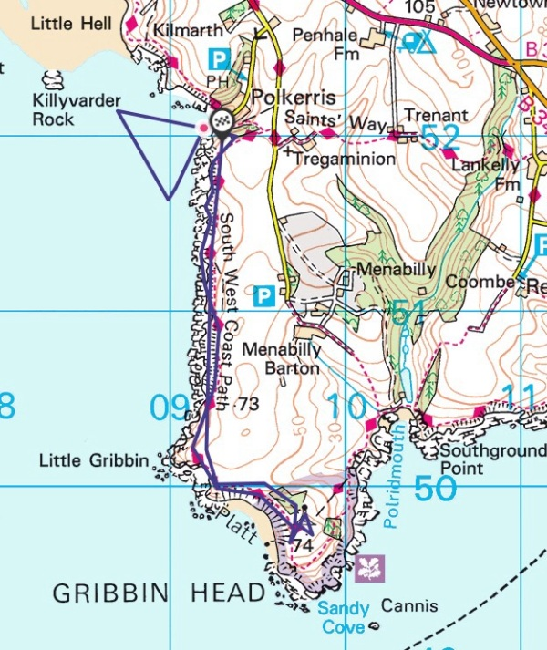 Route drawn on OS Maps